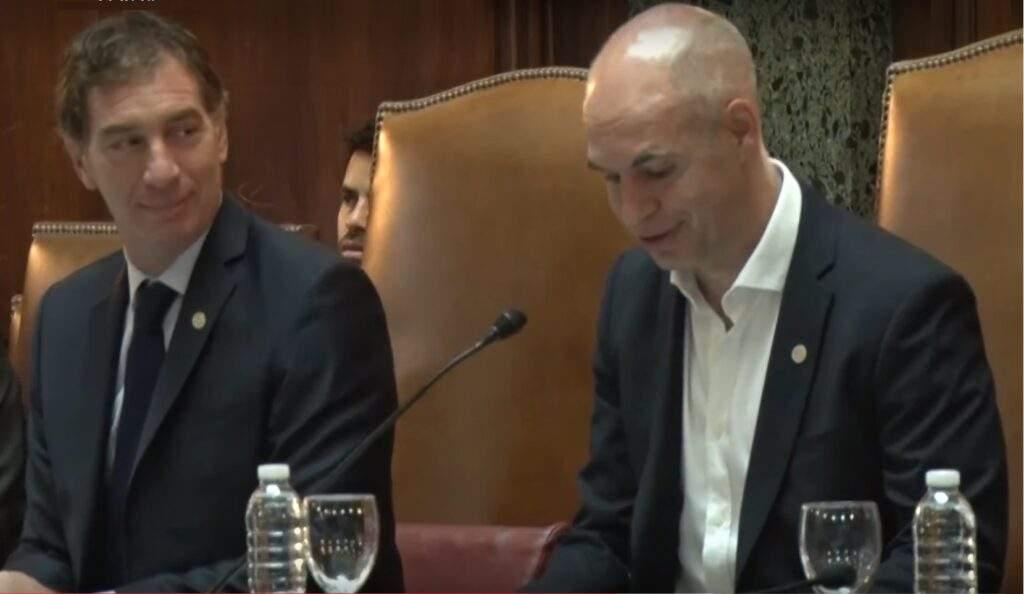 Horacio Rodríguez Larreta y Diego Santilli, en la Apertura de Sesiones Ordinarias, hoy, en la Legislatura Porteña.