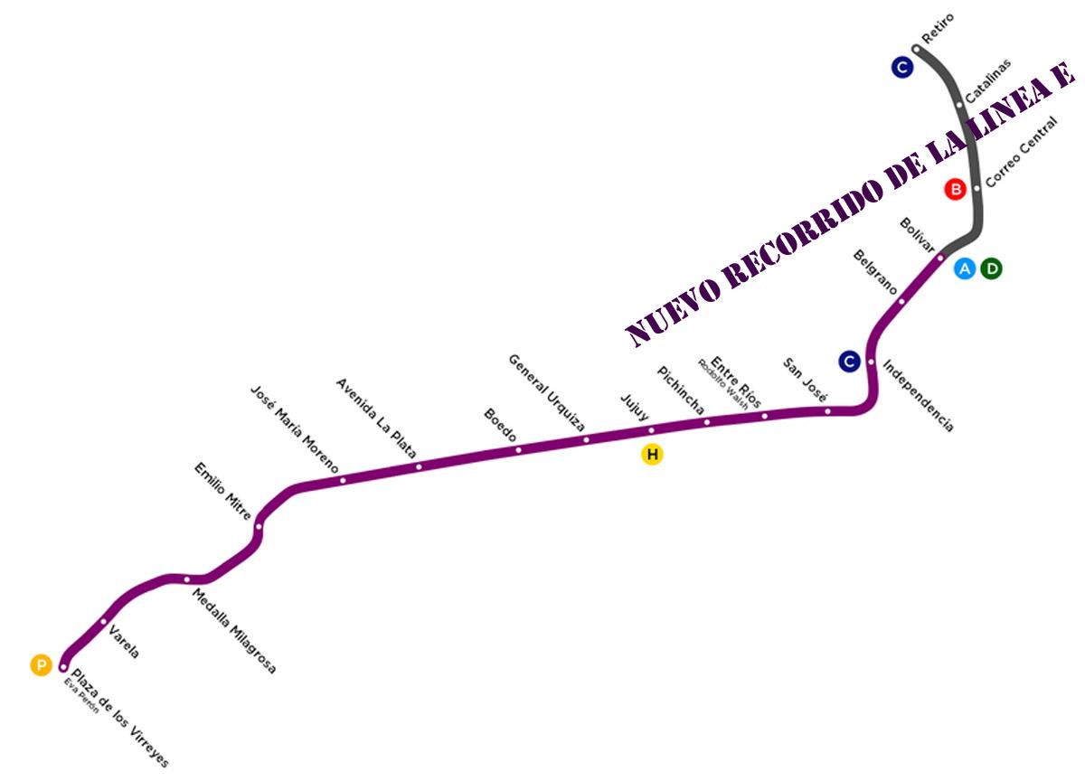 Recorrido que tendrá la Línea E en 2019